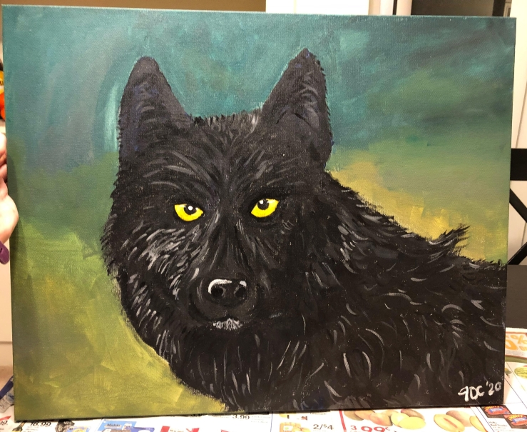 Acrylic painting of a black wolf named Romeo.